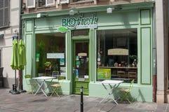 Biofresh, el restaurante del vegano Foto de archivo libre de regalías
