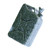 Biofuel. The metal canister on which grows a grass. Concept of ecological fuel.l Royalty Free Stock Images