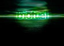 Biofuel Bioenergy The Future of Energy. Text on Green Seascape Horizon Royalty Free Stock Photography