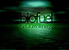 Biofuel Bioenergy The Future of Energy Seascape. Biofuel Bioenergy The Future of Energy Text on Green Seascape Horizon Stock Photos