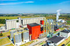Biofuel factory aerial view. Aerial view on the modern biofuel factory royalty free stock photos
