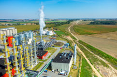 Biofuel factory aerial view Royalty Free Stock Images