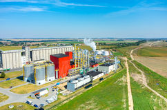 Biofuel factory aerial view. Aerial view on the modern biofuel factory royalty free stock image