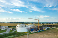 Biofuel factory. Aerial view on the modern biofuel factory stock images