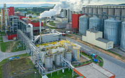 Biofuel factory. Aerial view on the modern biofuel factory royalty free stock photography