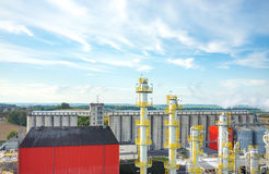 Biofuel factory. Aerial view on the modern biofuel factory stock photo