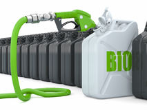 Biofuel. Gas pump nozzle and jerrycan. 3d Stock Images