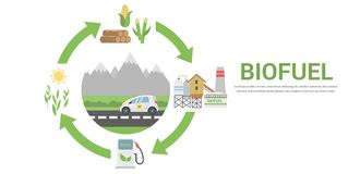 Biofuel life cycle. Biomass Ethanol From Corn, Sugarcane, Wood, Flat Design Vector Concept Illustration .  on the White Background Stock Photography