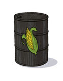 Bio fuel oil barrel with corn illustration Royalty Free Stock Image