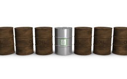 Biofuel and oil barrels Stock Photo
