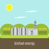 Biofuel plant. Flat design. Flat design. Picture on the topic of clean fuel. Biofuel plant Stock Photo