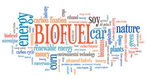 Biofuel word cloud. Biofuel - transportation issues and concepts tag cloud illustration. Word cloud collage concept Stock Images