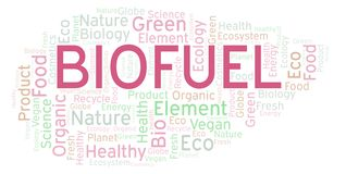 Biofuel word cloud. Wordcloud made with text only stock illustration