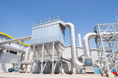 Biogas chimney and silo in recycling waste to energy plant Stock Image