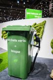 Biogas. Green waste = Biogas on display at the 85th International Geneva Motor Show in Palexpo., Switzerland Royalty Free Stock Photo