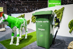 Biogas. Green waste = Biogas on display at the 85th International Geneva Motor Show in Palexpo., Switzerland Stock Photography