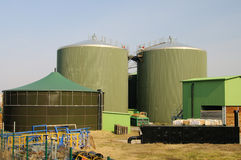 Biogas plant. Modern biomass or biogas power plant royalty free stock photography
