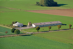 Biogas plant. In green landscape on the countryside Stock Images