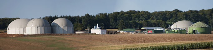 Biogas plant. Panoramic view over a biogas plant Royalty Free Stock Photo