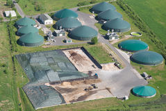 Biogas plant, bird's eye view Stock Image