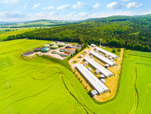 Biogas plant and farm. Stock Photos