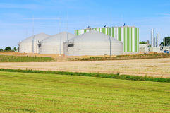 Biogas plant. Modern biogas plant, renewable energy stock image