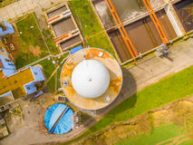 Biogas plant and sewage treatment. Aerial view to biogas plant and sewage treatment. Renewable energy from biomass Royalty Free Stock Images