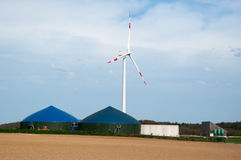 Biogas Plant With Wind Turbine Stock Images