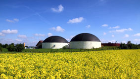 Biogas production. Biogas plant in a rape field Stock Image
