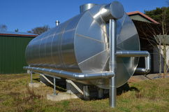 Biogas storage tank. The buffer or storage tank for biogas as a part of a block heat and power plant on a farm site Royalty Free Stock Photo