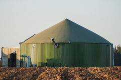 Biogas tank. Green biogas tank full with hydrogen Royalty Free Stock Photography