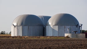 Biogas tank. Three biogas tanks full with hydrogen Stock Image