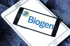 Biogen Biotechnology company logo. Logo of Biogen company on samsung tablet . Biogen is an American multinational biotechnology, specializing in the discovery Stock Photo