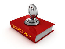 Biography book with lock key. private security Stock Photos