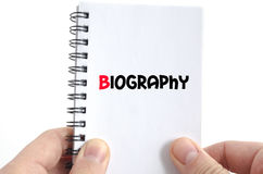 Biography text concept Stock Photography