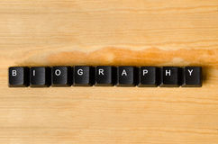 Biography word. With keyboard buttons Royalty Free Stock Photo