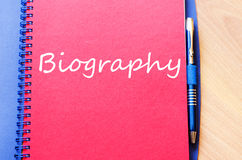 Biography write on notebook. Biography text concept write on notebook Royalty Free Stock Photography