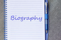 Biography write on notebook. Biography text concept write on notebook Stock Photos