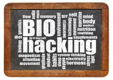 Biohacking word cloud on blackboard Stock Image