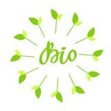 Biohand gezeichnetes Logo, Aufkleber mit grünem Blumenrahmen, mit Blatt und Sprössling Vector Illustration ENV 10 für Lebensmitte Lizenzfreie Stockfotos