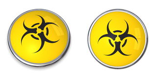 biohazard σύμβολο κουμπιών Στοκ Εικόνες