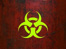 Biohazard. Symbol on a red rusty background royalty free illustration