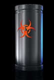 Biohazard. Container with biological danger substance and Biohazard sign. Isolated on black Royalty Free Stock Photography