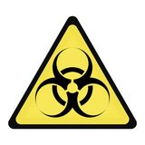 Biohazard. Yellow triangle sign for biohazard warning Royalty Free Stock Images
