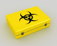 Biohazard background. Biohazard 3d yellow case metaphor image of danger Stock Image
