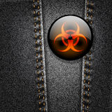 Biohazard badge on black denim vector Royalty Free Stock Photography