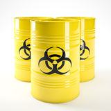 Biohazard barell. 3d image of yellow biohazard barell Royalty Free Stock Image