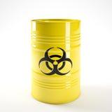 Biohazard barell. 3d image of yellow biohazard barell vector illustration