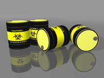 Biohazard barrels. 3d render on reflected surface Royalty Free Stock Image