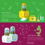 Biohazard biological threat banners epidemic disease protection Stock Image